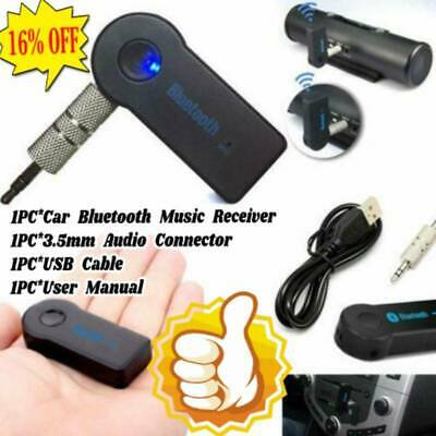 USB 3.5mm Bluetooth Wireless For Aux Stereo Audio Music Car Adapter Receiver FT