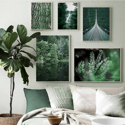 Green Forest Bridge Waterfall Nature Scenery Canvas Poster Print Modern Decor