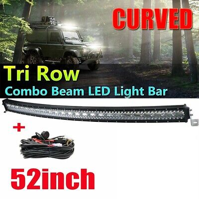 2275W Light Bar Tri-Row 52 Inch Curved LED Bar Spot Flood Combo /Wiring T10 Bulb