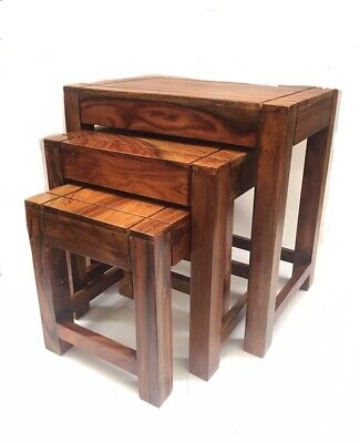 Nest Of 3 Tables Brown Solid Wood Coffee End Side Table Wooden Furniture Set