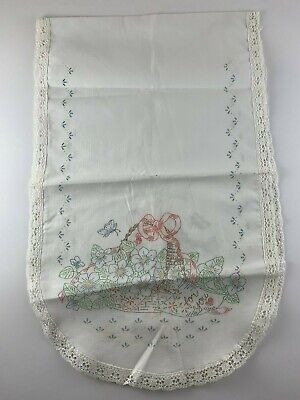 """Dresser Scarf stamped embroidery 13""""x42"""" crocheted edge table runner"""