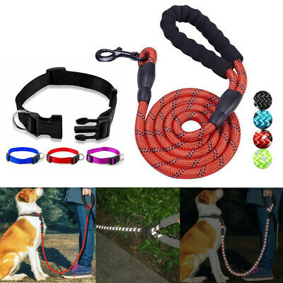 Pet Dog Reflective Nylon Traction Rope Large Dogs Leash + Pet Collar Accessories