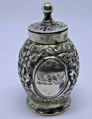Victorian Henry Wilkinson & Co Small Silver Double Crested Pepperette 1889