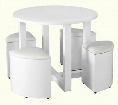 charisma stowaway dining set in white gloss white faux leather sylish modern