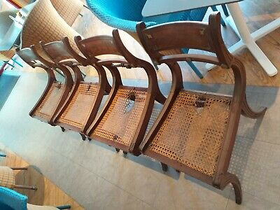 Antique SET 4 BRASS INLAID , SHAPED profiled CANED seat, Georgian Regency CHAIRS
