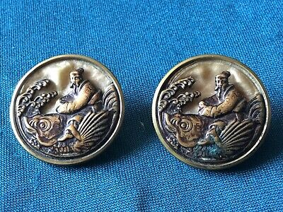 Antique Japanese Buttons Koi Carp Japanese Deity Rideing Fish Meje ?