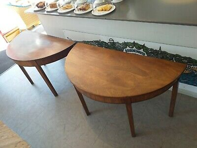 Antique English Pair Two Georgian Mahogany Demi - Lune Console Side Hall Tables