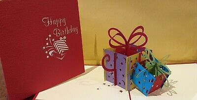 Colourful 3D Pop Up Magic Box Presents Card. For Birthday.