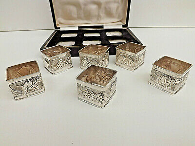 Vintage  Indian Sterling Silver Embossed  Square Napkin Ring Set In Box