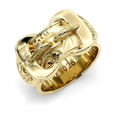 Mens Solid Brass Heavy Weight Double Buckle Ring 16mm Size Z+1