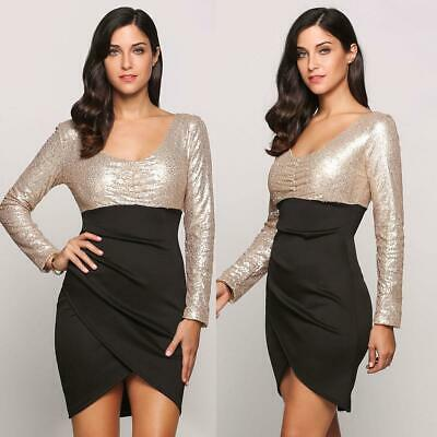 Sequin Long Sleeve Plunge Collar Bodycon Patchwork Wrap Party Dress WST 02