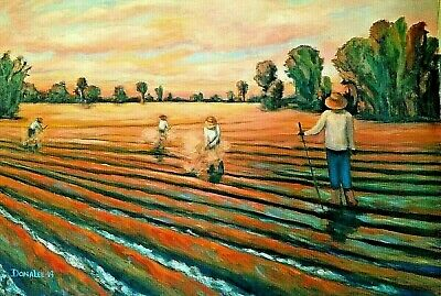 Original Oil Painting Landscape Farm Fields Workers Sunset Impressionism Signed