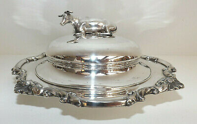 Antique Old Sheffield Silver Plate Butter Dish With Silver Cow Hallmarked 1834