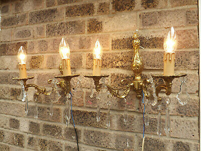 Vintage French Empire Style Pair Of Double Arm Wall Sconces With Crystal Drops