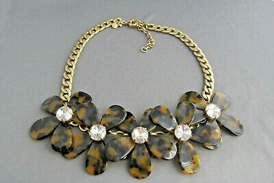 J Crew Gold Tone Chunky Flower  Daisy Faux Tortoise Shell Overlapping Necklace