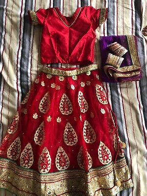 Kids Girls Red Lehenga Outfit Set Size 4-6years