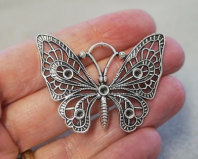 3x Tibetan Silver Large Open Filigree Butterfly Charms Pendant Beads