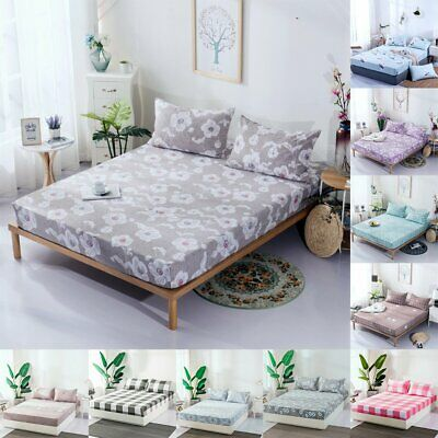 Full Fitted Sheet Bed Sheets Covers Polyester Single Double King Super King Size