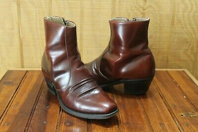 8429bde84a4 VINTAGE MENS WESTERN Ankle Boots 7.5 D Leather Zip Cowboy Brown ...