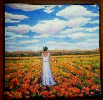 Original Oil Painting Floral Girl in Field Red Flowers Landscape Impressionism