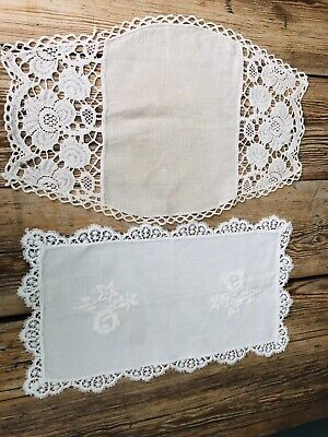 Two Linen Doilies Tea Tray Cloths White Beige Embroidered White Work Crochet