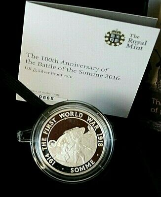 2016 silver £5 coin silver proof 100th anniversary battle of the somme