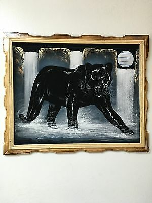 "Black Panther , Full Moon , Waterfall ,  Velvet Painting,18"" By 22""w, Frame"