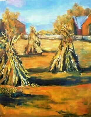 Original Oil Painting Landscape Farm Hay Stacks Fields Agriculture Impressionism