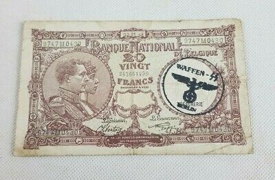 BELGIUM  Vingt  20 Francs Bank Note 1944 Stamped German Waffen SS Berlin