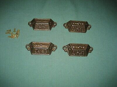 Antique Eastlake Victorian Cast Iron Drawer Pulls, Pat'd Aug 8, 1871, Set of 4
