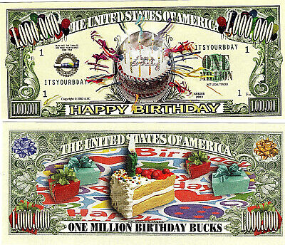Happy Birth day Novelty Bank Note Bill Put in Card & Give at Party lucky date UK