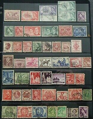 Bulk 1934 - 1961 Australia Pre decimal Stamps x 48 All Different - Used - 01