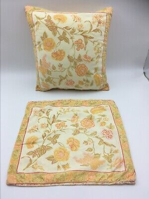 "April Cornell pillow covers, 15""x15"", pre-owned, shabby chic, yellow floral"