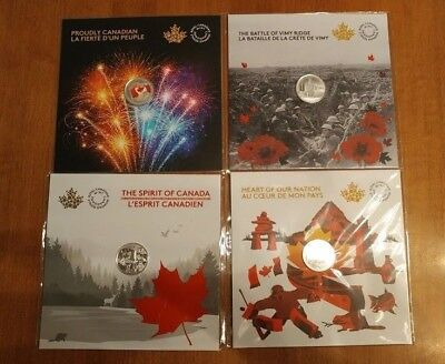 CANADA 150 99,99 % pure silver coins(4),150 th anniversary cards  2017,