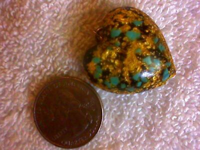 Gold Flake And Turquoise Confetti Heart Pendant.. Acrylic Lucite Black..NICE!