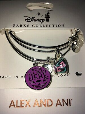 Disney Alex & and Ani Alice In Wonderland Cheshire Cat Silver Bracelets