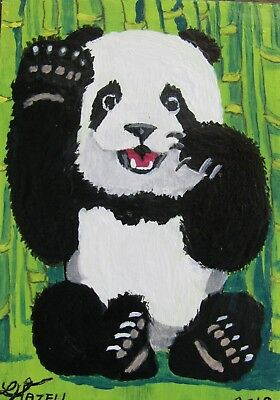 "A722     Original Acrylic Aceo Painting By Ljh  - ""Panda''"