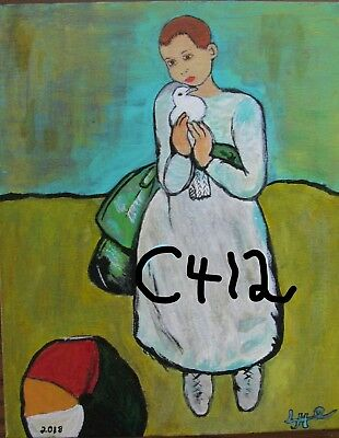 "P1-C412  Print From Original Acrylic Painting By Ljh    ""Little Girl With Bird"""