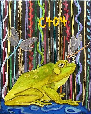 "P1-C404 ""New"" Print Of Original Acrylic Painting By Ljh  ""Frog With Dragonflies"""