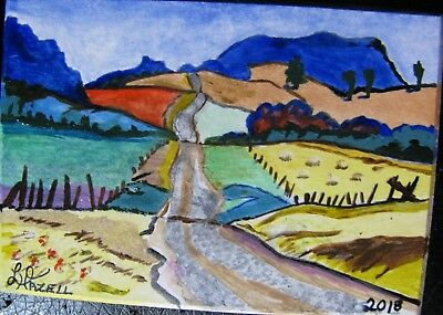 "A603       Original Acrylic Art Aceo Painting By Ljh          ""Country Road"""