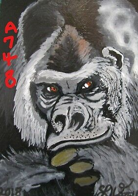 "A748       Original Acrylic Aceo Painting By Ljh  - ""Gorilla''"