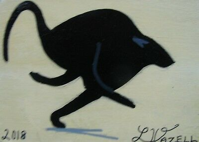 "A782     ORIGINAL ACRYLIC  ACEO PAINTING BY LJH  ""SPEEDSTER""   Black Cat"