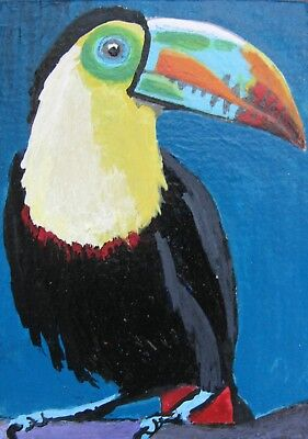 "A412   Original Acrylic Aceo Painting By Ljh  ""Tucano""  Beautiful Tropical Bird"