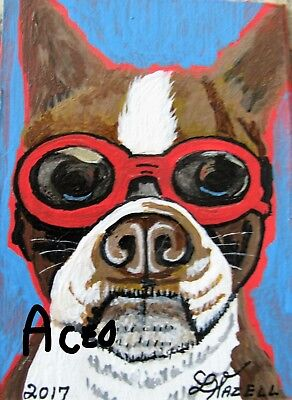"A510    ORIGINAL ACRYLIC ACEO PAINTING BY LJH  - ""MR COOL GUY''    boxer  DOG"