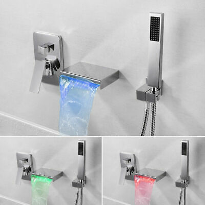 Wall-Mount Chrome/Black Bathtub Faucet & Hand Shower LED Waterfall Spout Filler