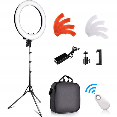 LED Ring Light, FOSITAN 18 inches/48cm Outer 55W 5500K Dimmable 240 LED Ring Kit