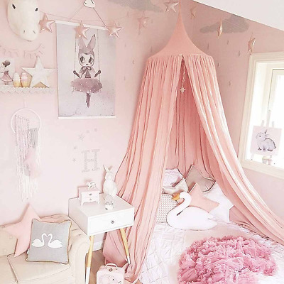 Children Bed Canopy Pink Round Dome, Nursery Room??Decorations,??Dix-Rainbow Net