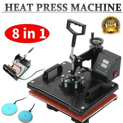 8 in 1 T-Shirt Heat Press Machine Cup/Mug/Plate Hat Sublimation Printing 110V