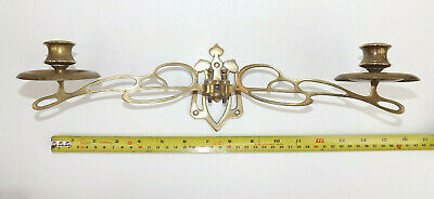 Circa 1900-1910 Art Nouveau  Brass Double Wall Sconce