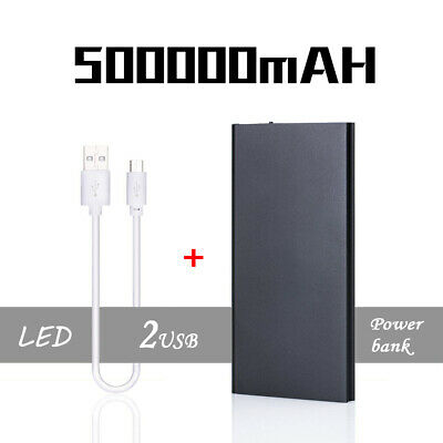 Portable 500000mAh Battery Charger Power Bank LED Dual USB For Mobile Phone